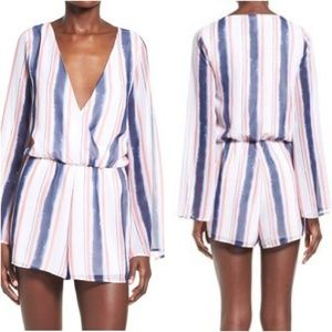 Leith Striped Long Sleeve Sheer Romper S